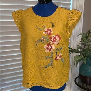 Golden Yellow Lace Blouse w Floral Embroidery, L